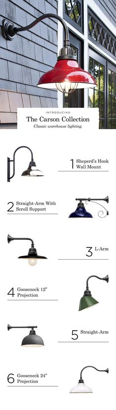 Carson. Gooseneck sconce. Warehouse fixtures. Outdoor lighting. Porch lighting. Patio decor. Customizable fixture. Indoor outdoor light. Colorful light shade.