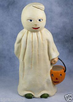 Heavy Cast Iron Coin Bank Halloween Trick or Treat Ghost With Jack-O-Lantern