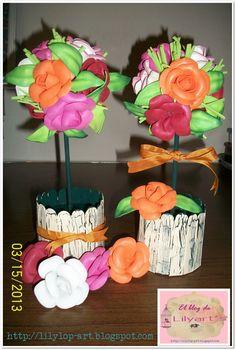 Topiarios de rosas de foamy termoformado