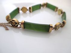 Jade bracelet and earrings, stunning estate jewels, 14K yellow gold fortune bracelet, recent appraisal available by vintageboxofdelights on Etsy
