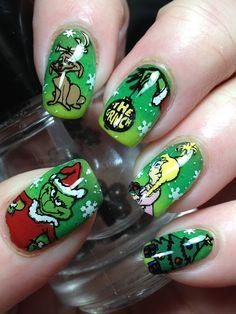 Canadian Nail Fanatic: Digit-al Dozen Does December; Cute Acrylic Nails, Acrylic Nail Designs, Cute Nails, Pretty Nails, Xmas Nails, Holiday Nails, Christmas Nails, Halloween Nails, Grinch