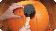 Use cookie cutters and a rubber mallet instead as an alternative to carving a pumpkin.
