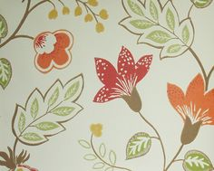 Benvarden Wallpaper Cheerful contemporary floral wallpaper in orange, red and yellow on a rich cream background