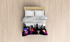 superhero duvet cover, spiderman, captain america, superman, batman duvet cover, superhero bedding, bedspread cover, 3 sizes available by PrintArtShoppe on Etsy https://www.etsy.com/listing/232343733/superhero-duvet-cover-spiderman-captain