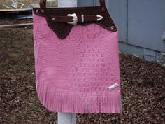 Custom Western  Chap Genuine Leather Purse Handbag with Basket weave stamp Fringe Mock Belt