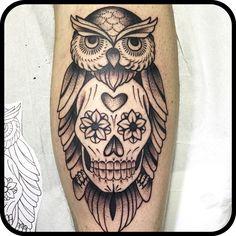 Tattoo tatuaggio gufo teschio messicano calavera mexicanskull