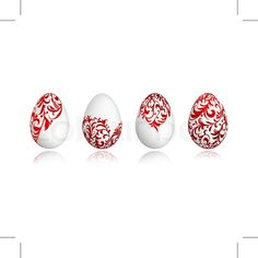 "Buy the royalty-free Stock vector ""Easter eggs white with floral ornament for your design"" online ✓ All rights included ✓ High resolution vector file fo. Egg Whites, Tile Patterns, Your Design, Easter Eggs, Stud Earrings, Red Hearts, Ceramics, Ornaments, Vector File"