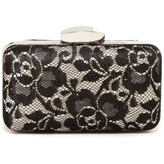 Jessica McClintock Pearl Lace Minaudiere ($29) ❤ liked on Polyvore featuring bags, handbags, clutches, chain handle handbags, kiss-lock handbags, pearl clutches, chain strap handbag and lace purse