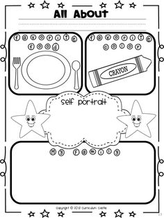 All About Me! Perfect for Pre-K/K! Add to unit 1poster- (taped around?) self portrait, favorite color,...