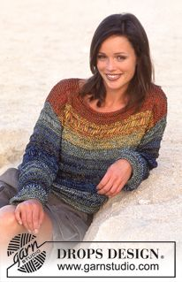 Rusty Rainbow - DROPS Sweater in triple strands of Cotton Viscose. - Free pattern by DROPS Design Drops Design, Summer Knitting, Free Knitting, Sweater Knitting Patterns, Knit Patterns, Tunic Pattern, Free Pattern, Crochet Clothes, Pulls
