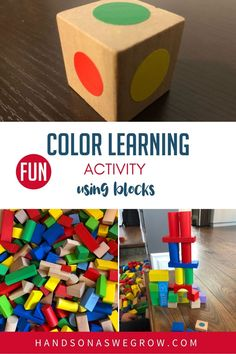 Blocks, dot stickers and dice are all you need to create your own building block towers activity that not only works on fine motor and cognitive thinking, but also learn colors and teach math to toddlers and preschoolers! #noprepactivities #nomessactivities Gross Motor Activities, Toddler Learning Activities, Kids Learning Activities, Color Activities, Infant Activities, Preschool Colors, Teaching Colors, Preschool At Home, Toddler Preschool