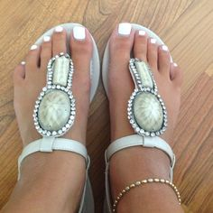 """Spotted while shopping on Poshmark: """"Beige sandals with stones!""""! #poshmark #fashion #shopping #style #Shoes"""
