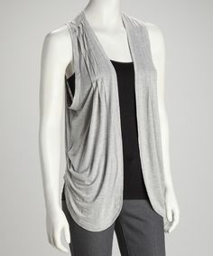 Take a look at this Gray Sleeveless Open Cardigan by Mystree on #zulily today!