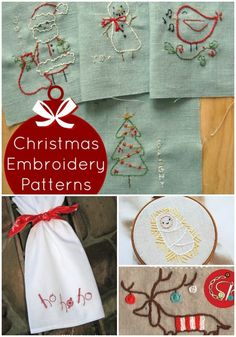Hand Embroidery Patterns 18 Free Christmas Embroidery Designs – Print and Stitch Free Applique Patterns, Applique Embroidery Designs, Learn Embroidery, Hand Embroidery Stitches, Machine Embroidery Patterns, Sewing Stitches, Sewing Patterns, Shirt Embroidery, Vintage Embroidery