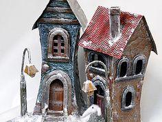 Домики из картона и паперклея | Ярмарка Мастеров - ручная работа, handmade