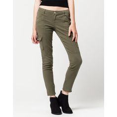 Almost Famous Cargo Skinny Womens Pants ($30) ❤ liked on Polyvore featuring pants, cotton cargo pants, skinny cargo pants, zipper pocket pants, skinny fit cargo pants and zip pants