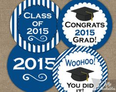 Blue Graduation Cupcake Toppers - Printable 2015 Graduation Favor Tags - Navy Blue & White Class of 2015 Grad Toppers - Instant Download