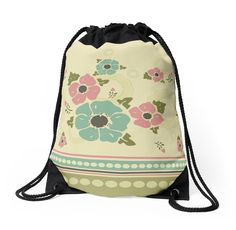 """Vintage pattern with a border ""Nostalgic Flowers"""" Drawstring Bags by floraaplus 