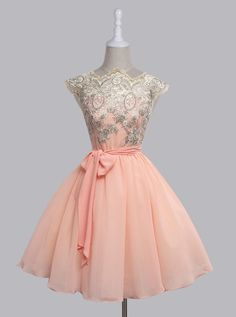 Vintage Scalloped-Edge Chiffon Cap Sleeves Lace Short Pink Party Prom Dress