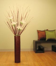 25 in. Brown Bamboo Tall Floor Vase & Floral Kit
