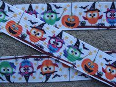 "Halloween Printed Ribbon 7/8"" Owls Ribbon Ghost Ribbon Pumpkin Ribbon Hair Bow Ribbon Craft Supplies by Aplusribbon on Etsy"