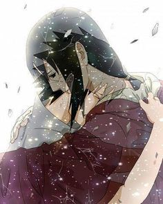 Saskue and Itachi Embrace-- one of the most bittersweet moments!