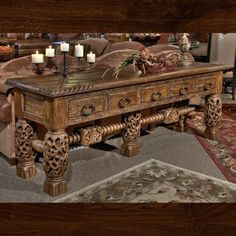 Beautifully hand carved teak wood with fabulous design compone Unique Furniture, Furniture Decor, Living Room Furniture, Western Living Rooms, Mountain Home Interiors, Sectional Sofa With Recliner, Tuscan Decorating, Home Living Room, Home Furnishings