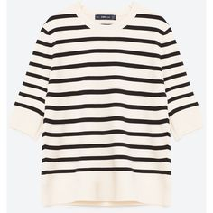 STRIPED SWEATER - NEW IN-WOMAN | ZARA United States (€45) ❤ liked on Polyvore featuring tops, sweaters, knitwear sweater, striped top, white sweater, white top and stripe sweater