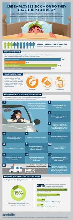 Sick at home? Check out this infographic with stats on employees who take sick days or might be playing hooky!