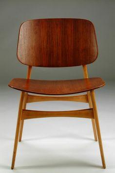 Børge Mogensen; Teak-Faced Plywood and Oak Sidechair, 1950.
