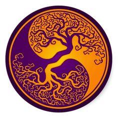 Golden Purple Tree of Life Yin Yang Stickers