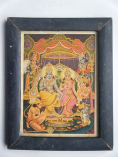 Hindu God Rama Vintage Old Religious Print in Old Wooden Frame India Art #2274 #Print