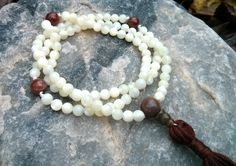 Mother of Pearl and Red Jasper Mala Prayer Beads by LotusJewels, $24.99