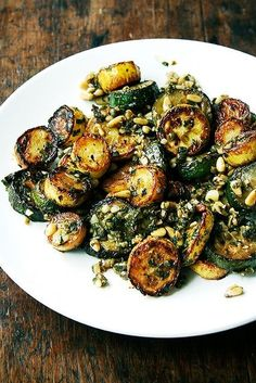Grilled zucchini tossed with mint pesto.