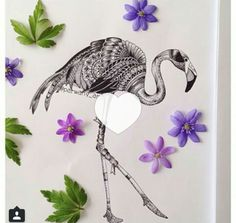 Black and gray flamingo drawing, cool tattoo idea