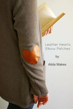leather heart elbow patches sweater refashion - Love Stitched
