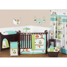 Sweet JoJo Designs 11pc Hooty Crib Bedding Set - Turquoise, Lime, Orange, Yellow, Taupe, White    Mom, i think this may be it. This could be for a boy or girl.