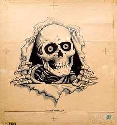 Original sketch for the Powell ripping skull