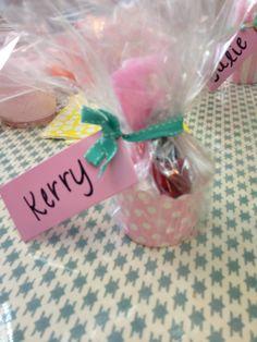 Bridal Shower Favor, cupcake holder filled with manicure supplies!!