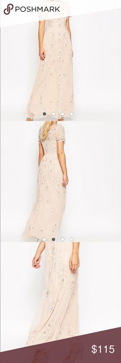 ‼️Price Dropped‼️ASOS SALON Beaded Floral Maxi Brand New with Tags. Never worn ASOS SALON Beaded Floral Mesh Maxi Dress CA size 8 US 12 ASOS Dresses Maxi