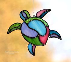 Stained Glass Suncatcher, Abstract Sea Turtle in Vibrant Pastel Colors, Polynesian Style, Island Vibe, Sea life Window Hanging, Coastal #StainedGlassBeach
