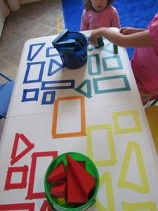 Use on cardboard and trace with coloured pens first.  Exploring shapes on the table by Teach Preschool