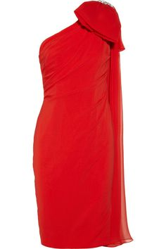 Notte by Marchesa One-shoulder embellished silk-blend chiffon dress