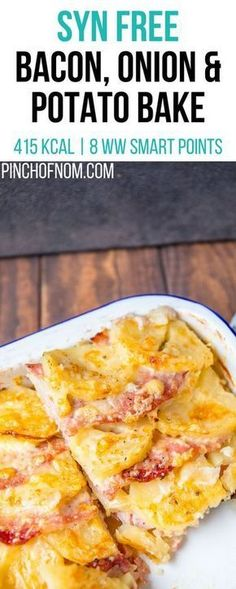 Syn Free Bacon Onion and Potato Bake Pinch Of Nom Slimming World Recipes 415 kcal Syn Free 8 Weight Watchers Smart Points Slimming World Cake, Slimming World Dinners, Slimming World Breakfast, Slimming World Recipes Syn Free, Slimming Eats, Slimming World Lunch Ideas, Slimming World Syns, Slimming World Chicken Recipes, Slimming World Cookies