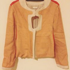 Diane von Furstenberg Jacket with Square Cutout This orange, red & pink/beige DVF jacket looks polished & stands out from the crowd. A cutout at the chest, above a metal zipper & closed by a hook & eye, looks great with a coordinating color or pattern peeking through, or over a tank top to show off cleavage. No tags, but my GUESS is materials are light wool tweed w/ silk panels & lining. Condition is great but wrinkled (will look crisp after a steam!), w/ the slightest pulling at the inner…