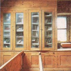 glazed and sandblasted bookcases in my bedroom in Soho
