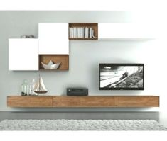 20 Outstanding Ideas For TV Shelves To Design More Attractive Living Room TV shelves are necessary items for every living room, and the. Living Room Tv Unit Designs, Living Room Wall Units, Living Room Cabinets, Interior Design Living Room, Living Room Decor, Tv Cabinets, Living Rooms, Kitchen Living, Tv Wand Design
