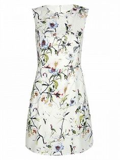 Shop White Floral Print Sleeveless A-line Dress from choies.com .Free shipping Worldwide.$29.9