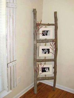 met takken uit het bos zelf een ladder maken