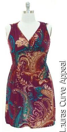 Jon Anna Plus Size Womens Dresses Purple Teal Paisley Empire Top Dress 1X 14/16